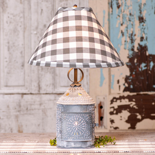 Irvin's Tinware Paul Revere Lamp With Gray Check Shade