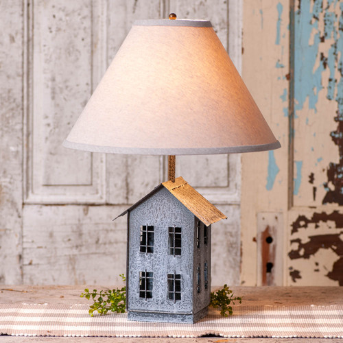 Irvin's Tinware House Lamp With Ivory Linen Shade