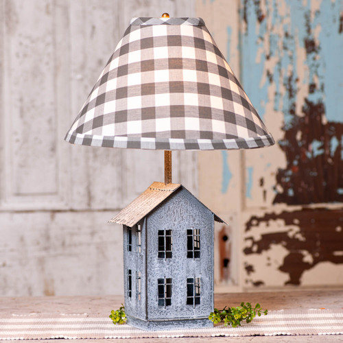Irvin's Tinware House Lamp With Gray Check Shade