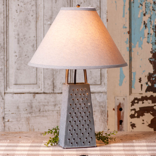 Irvin's Tinware Grater Lamp With Ivory Linen Shade