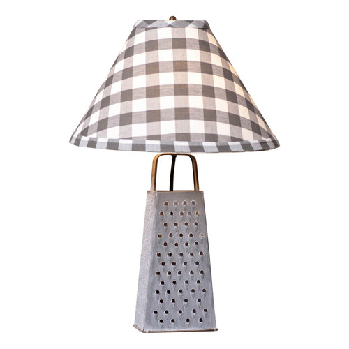 Irvin's Tinware Grater Lamp With Gray Check Shade