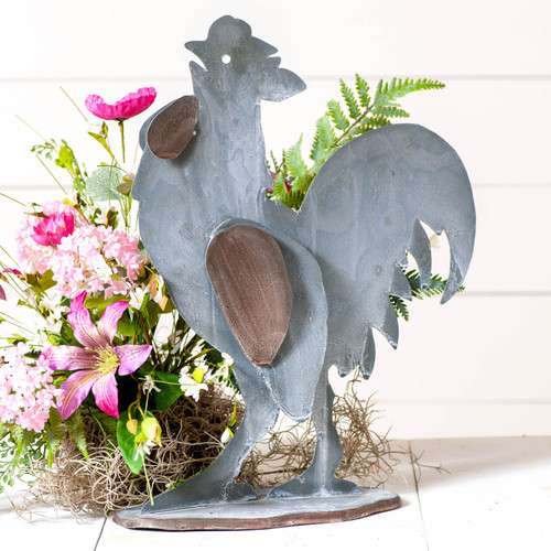 Irvin's Tinware Metal Rooster Finished In Weathered Zinc