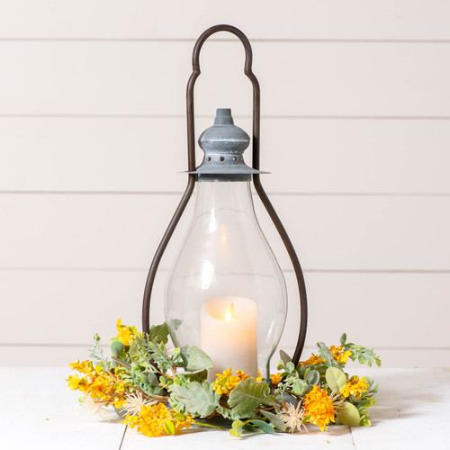 Irvin's Tinware Carriage House Lantern Candleholder Finished In Weathered Zinc