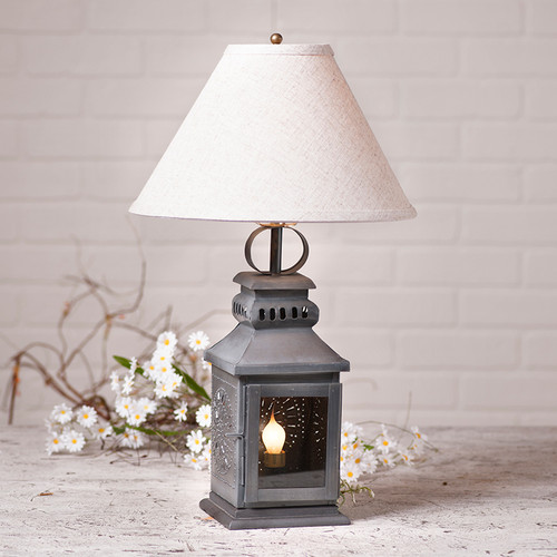 "Irvin's Tinware Miner's Lamp with optional 15"" Linen Shade"