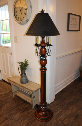 """Katie's Handcrafted Lighting 2 Arm Large Liberty Lamp Pictured In Original Finish: Base Coat Color = Pumpkin Spice, Top Coat Color = Black Rub, Trim Color = Patriotic, Shade = 17"""" Star Shade In Aged Black"""
