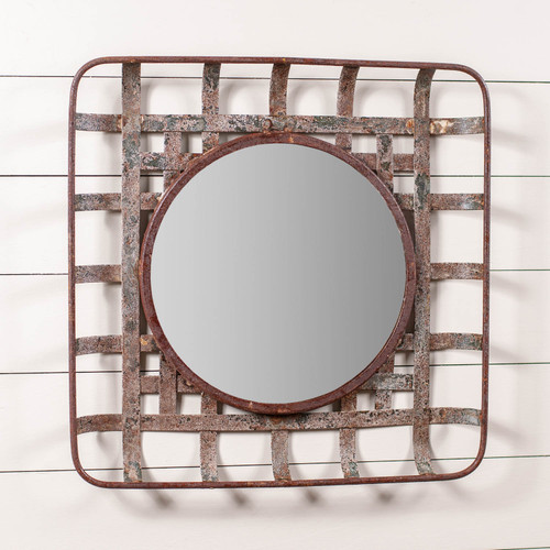 Irvin's Tinware Tobacco Basket Wall Mirror