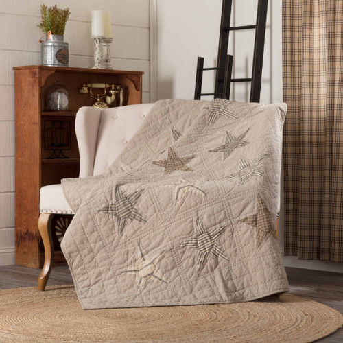 Sawyer Mill Star Charcoal Quilted Throw by VHC Brands