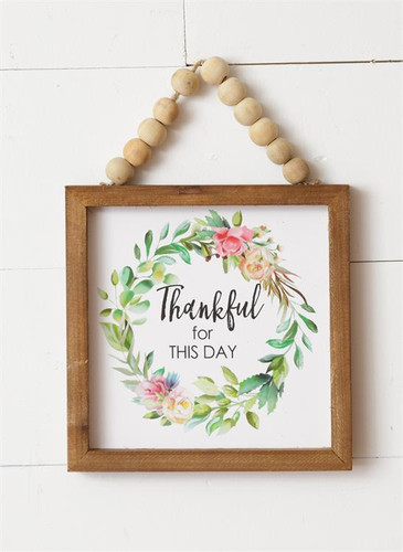 Thankful For This Day Sign With Beads
