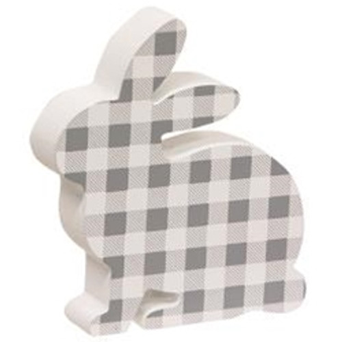 Gray & White Buffalo Check Chunky Bunny