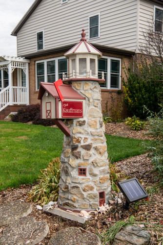 6 Foot Stone & Poly Lighthouse With Built In Mailbox