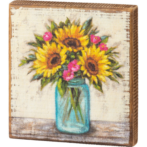 Sunflowers Block Sign