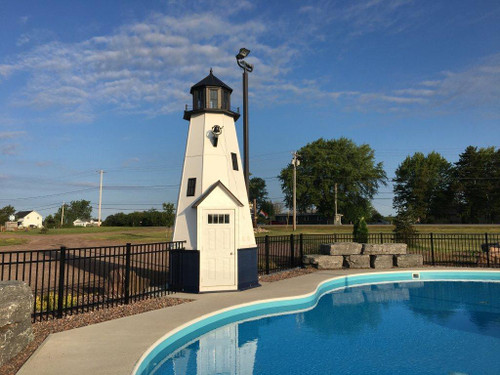 Amish Made 20 Foot Wood Smartside Lighthouse -  Shown As: Cape Cod Style, X-Large Electric Revolving Light, Roof/Top Color: Black, Tower Primary Color: White, Tower Accent/Trim Color: White. Base Primary Color: Black, Optional Base Trim Color: Black.