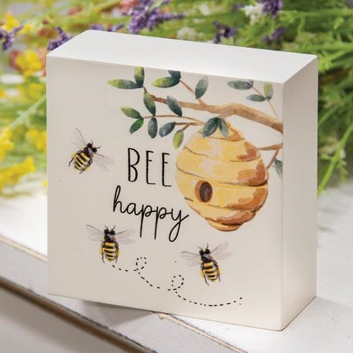 Bee Happy Beehive Box Sign