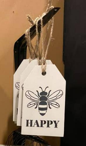 Bee Happy Wooden Tag