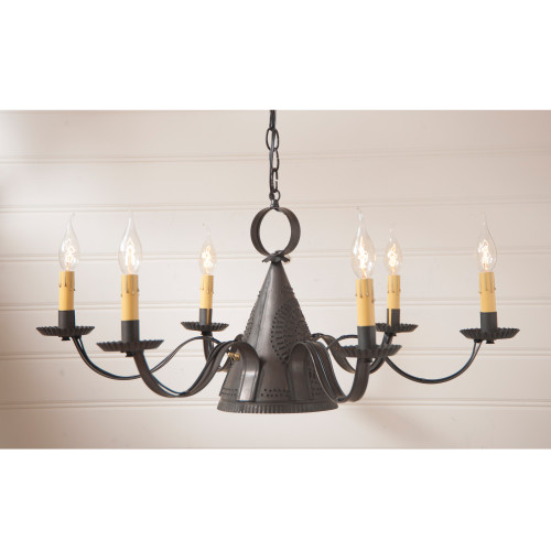 Irvin's Madison Punched Tin Chandelier Finished In Kettle Black