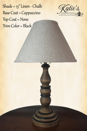 Abby Lamp by Katies Handcrafted Lighting, finished in Cappuccino with Black trim, and optional linen shade.
