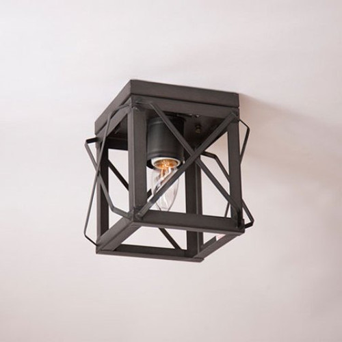 Irvin's Single Ceiling Light With Folded Bars Finished In Country Tin