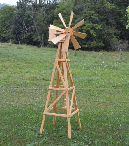Farm Style Windmill finished in Natural Stain