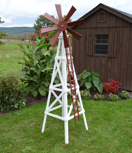 Farm Style Windmill finished in White & Stauffer Red
