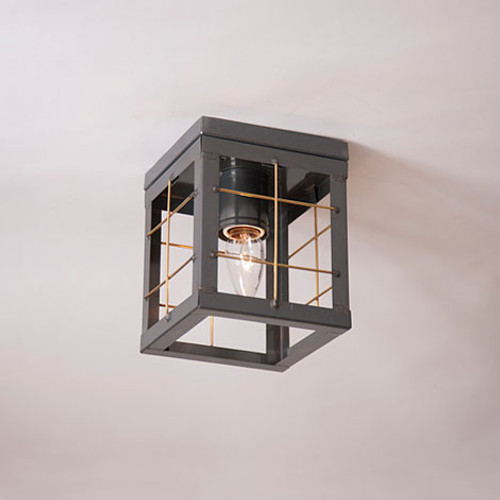 Irvin's Single Ceiling Light With Brass Bars Finished In Country Tin