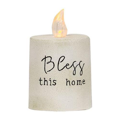 Bless This Home White Cement Timer Pillar