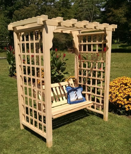 Amish Handcrafted Lexington Cedar Wood Arbor With Swing - Unfinished