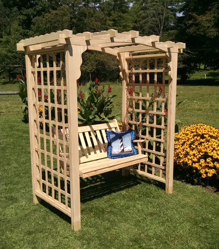 Amish Handcrafted Cambridge Cedar Wood Arbor With Swing - Unfinished