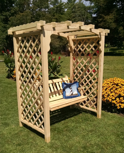 Amish Handcrafted Jamesport Cedar Wood Arbor With Swing - Unfinished
