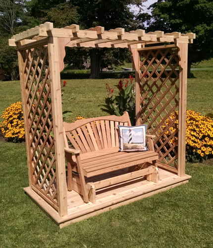Amish Handcrafted Covington Cedar Wood Arbor With Deck & Glider - Unfinished