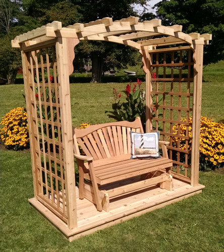 Amish Handcrafted Cambridge Cedar Wood Arbor With Deck & Glider - Unfinished