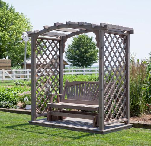 Amish Handcrafted Cambridge Cedar Wood Arbor With Deck & Glider - Gray