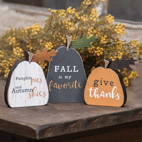 Fall Phrases Freestanding Pumpkins