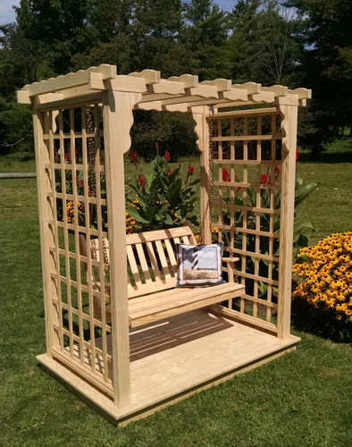 Amish Handcrafted Lexington Cedar Wood Arbor With Swing & Glider - Unfinished
