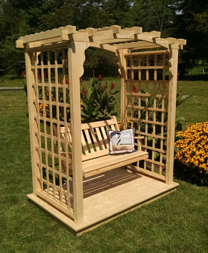 Amish Handcrafted Cambridge Cedar Wood Arbor With Swing & Glider - Unfinished