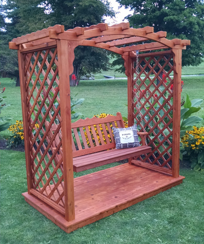 Amish Handcrafted Jamesport Cedar Wood Arbor With Swing & Glider - Redwood Stain
