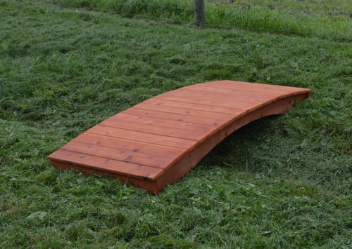 Amish Handcrafted Cedar Wood Plank Garden Bridge - Cedar Stain