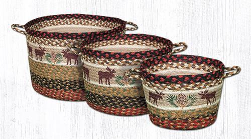 Earth Rugs™ Braided Jute Utility Basket: Moose Pincone