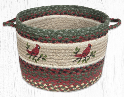 Earth Rugs™ Braided Jute Utility Basket: Holly Cardinal