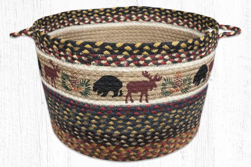 Earth Rugs™ Braided Jute Utility Basket: Bear Moose