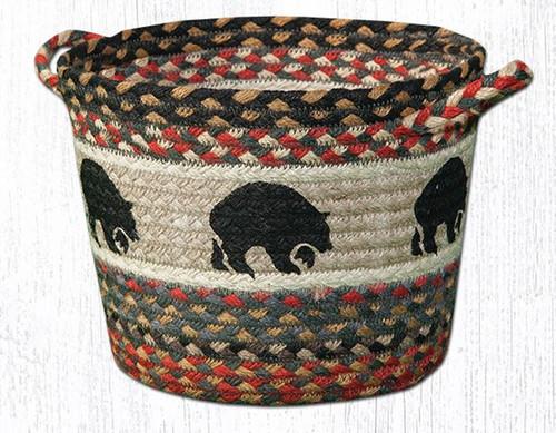 Earth Rugs™ Braided Jute Utility Basket: Black Bear