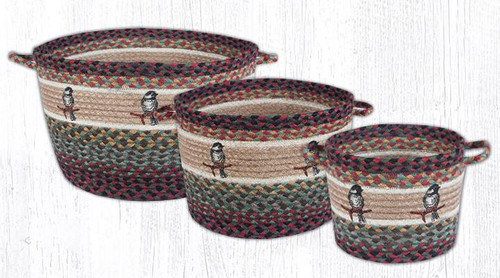 Earth Rugs™ Braided Jute Utility Basket: Chickadee