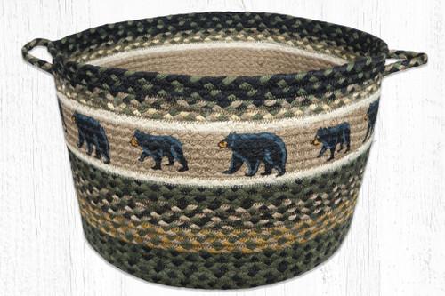 Earth Rugs™ Braided Jute Utility Basket: Mom & Bear Cub