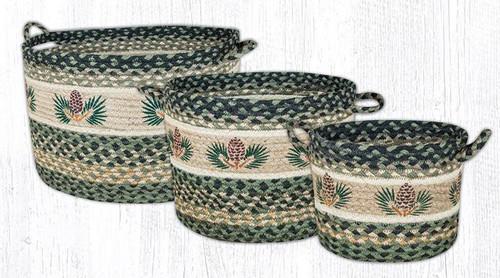 Earth Rugs™ Braided Jute Utility Basket: Pinecone