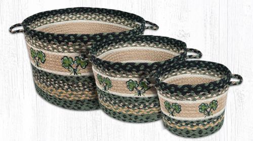 Earth Rugs™ Braided Jute Utility Basket: Shamrock