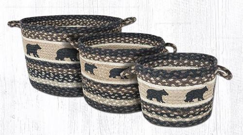 Earth Rugs™ Braided Jute Utility Basket:  Cabin Bear