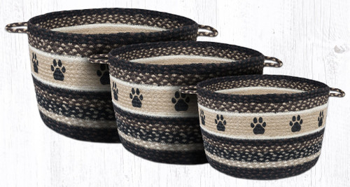 Earth Rugs™ Braided Jute Utility Basket:  Paw Prints