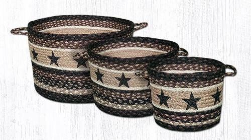 Earth Rugs™ Braided Jute Utility Basket:  Black Star