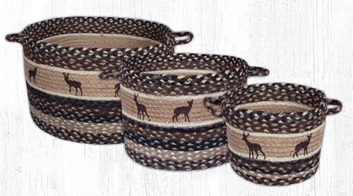 Earth Rugs™ Braided Jute Utility Basket: Deer Silhouettes