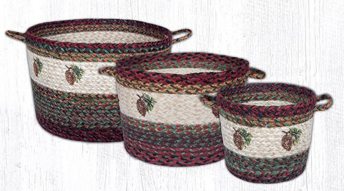 Earth Rugs™ Braided Jute Utility Basket: Pinecone