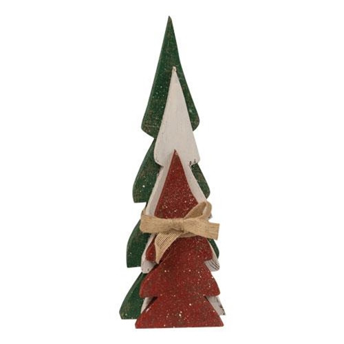 Distressed Christmas Colors Wooden Trees